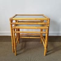 Bamboo and Textured Glass Vintage  Nest of Tables